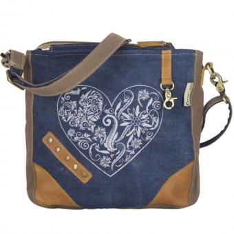 Domelo Damen Trachtentasche Jeans Umhängetasche Herz Schultertasche blau braun