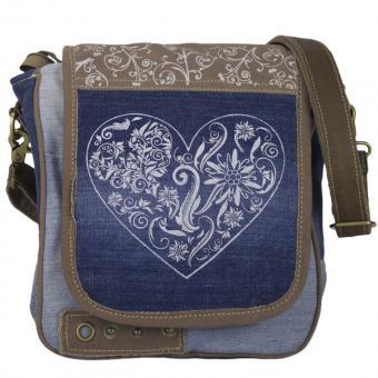 Domelo Damen Trachtentasche aus recycelter Jeans. Messenger Tasche/ Umhängetasche mit Herzmotive