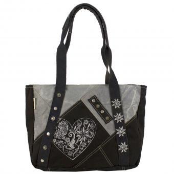 Domelo Canvas Trachten Tasche Handtasche stone washed Shopper grau schwarz Schultertasche