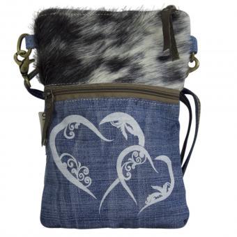 Domelo Tracht Tasche Jeans Schultertasche klein Umhängetasche bedruckt blau Fell