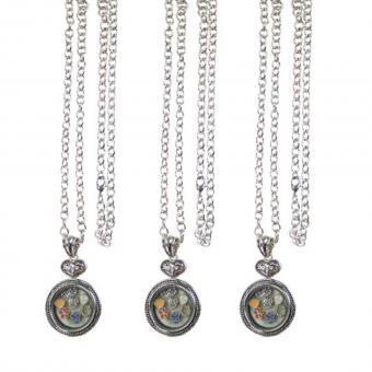 Medallion Kette Anhänger Herz mit Charms silber Glas