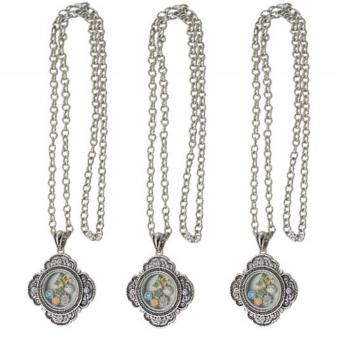 Medallion Kette Anhänger Antik mit Charms silber Glas