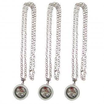 Medallion Kette Anhänger mit Charms Glas silber weiß