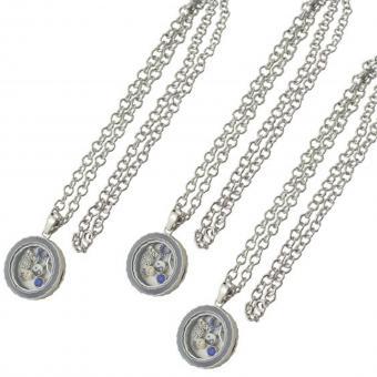 Medallion Kette Anhänger mit Charms silber grau Glas