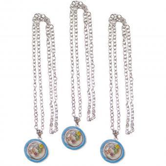 Medallion Kette Anhänger mit Charms silber türkis Glas