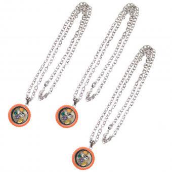 Medallion Kette Anhänger mit Charms silber orange Glas