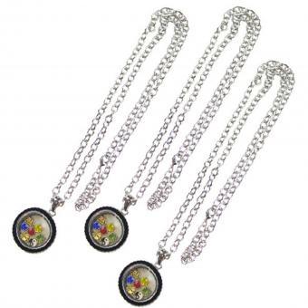 Medallion Kette Anhänger mit Charms silber schwarz Glas