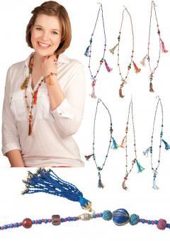Halskette Collier Modeschmuck Glasperlen Baumwollperlen