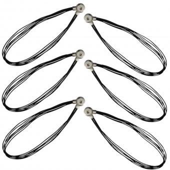 Leder Halskette schwarz click button Chunks Anhänger