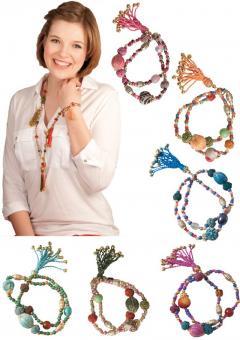 Armband Modeschmuck Glasperlen Baumwollperlen