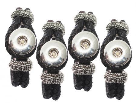 Leder Armband geflochten schwarz click button Chunks