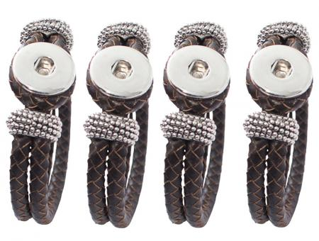 Leder Armband geflochten braun click button Chunks