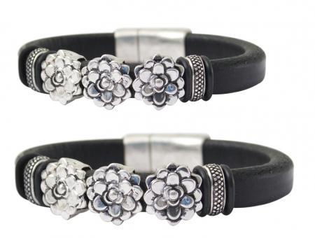 Armband Damen schwarz Leder Armreif silber