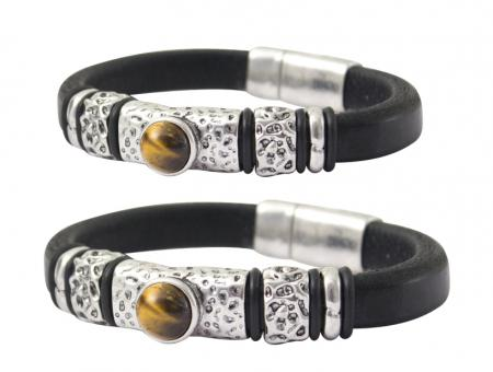 Armband Damen schwarz Leder Armreif silber Dekostein