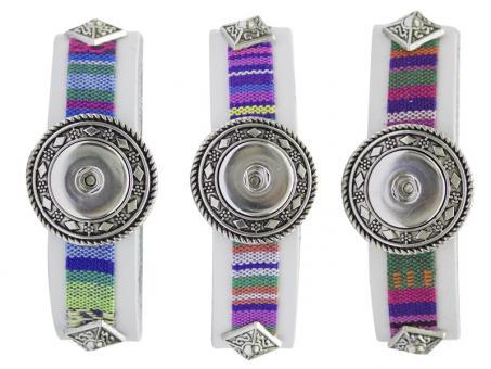 Armband weiß PU Stoff click button Chunks