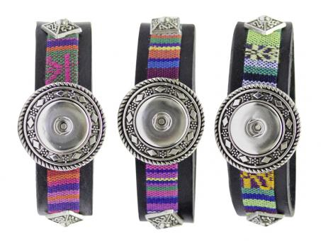 Armband schwarz PU Stoff click button Chunks