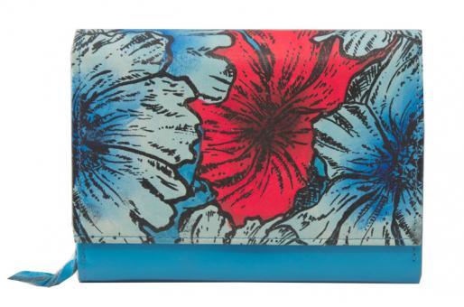 Sunsa blaue Leder Geldbörse Portemonnaie Brieftasche