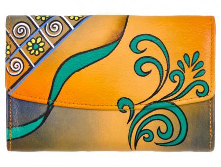 Sunsa orange Leder Geldbörse Portemonnaie Brieftasche