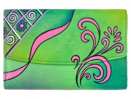 Sunsa grüne Leder Geldbörse Portemonnaie Brieftasche