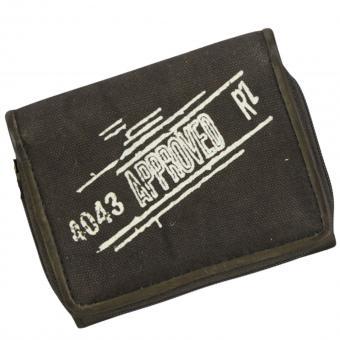 Sunsa Vintage Geldbörse Canvas Leder Börse olive S