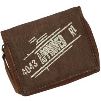 Sunsa Vintage Ledergeldbörse Canvas Börse rost S