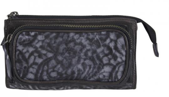 Sunsa Vintage Ledergeldbörse schwarz L