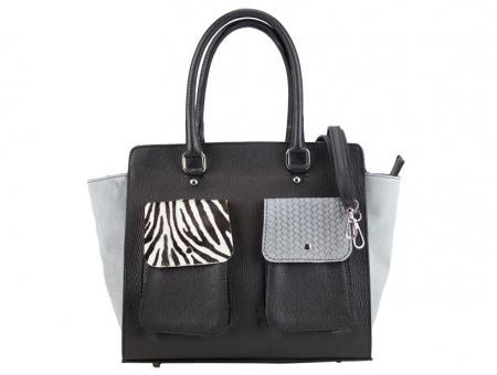 schwarze Leder und graue Veloursleder Handtasche