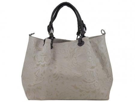 Shopper Tasche beige Handtasche geprägtes Leder