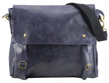 dunkelblaue Leder Messenger Tasche Umhängetasche unisex