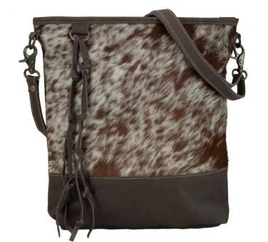 Sunsa Vintage Tasche Umhängetasch Schultertasche aus Leder und Fell braun