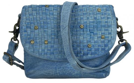 Sunsa Tasche Schultertasche Handtasche Leder hellblau