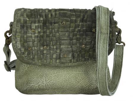 Sunsa Tasche Schultertasche Handtasche Leder grün
