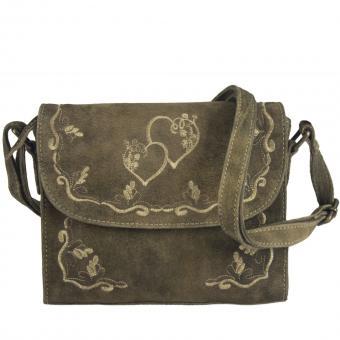 Domelo Leder kleine Umhängetasche, Herz-Motiv bestickte Trachtentasche, braun