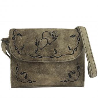 Domelo Schultertasche kleine Damen Umhängetasche Leder bestickt Trachtentasche klein taupe