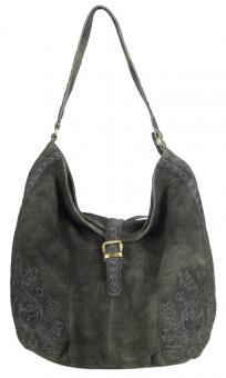 Domelo Tasche  Hobbo Handtasche Leder bestickt Trachtentasche dunkelbraun