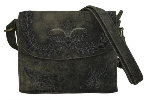 Domelo Tasche Schultertasche Umhängetasche Leder bestickt Trachtentasche klein dunkelbraun