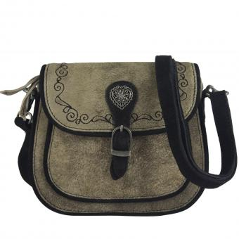 Domelo Leder kleine Umhängetasche, bestickte Trachtentasche, taupe