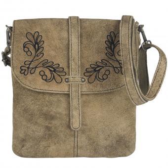 Domelo Damen Tasche Trachtentasche Schultertasche Umhängetasche Leder taupe bestickt Oktoberfest