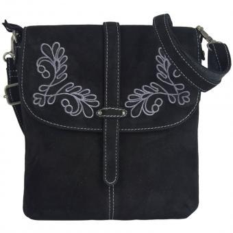 Domelo Damen Tasche Trachtentasche Schultertasche Umhängetasche Leder schwarz bestickt Oktoberfest