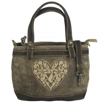 Domelo Tasche kleine Damen Schultertasche Handtasche Umhängetasche Leder bestickt braun