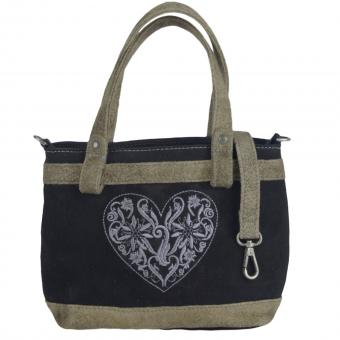 Domelo Tasche kleine Damen Schultertasche Handtasche Umhängetasche Leder bestickt schwarz