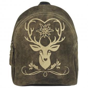 Domelo Rucksack große Tasche Schultertasche Umhängetasche Leder braun