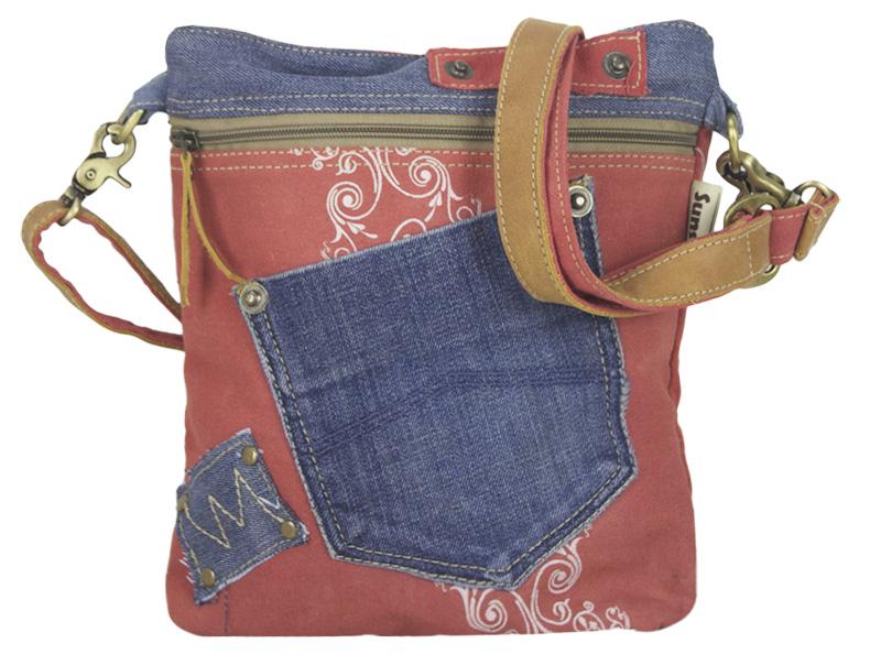 e6b89461ace6b Sunsa Damen Canvas Tasche Jeans Umhängetasche rot klein Schultertasche  Crossbody