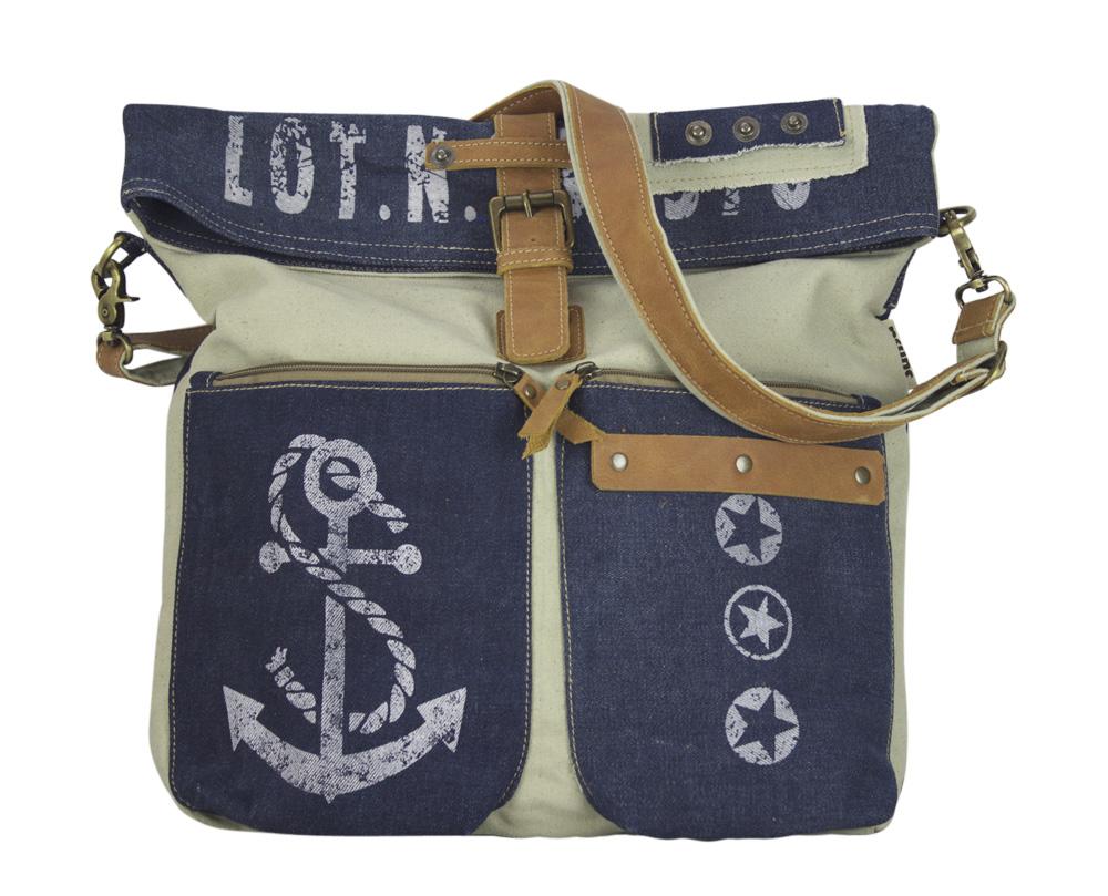 e5f70706b9ff4 Sunsa Damen Tasche Jeans Schultertasche blau Umhängetasche braun Maritim  groß Messenger