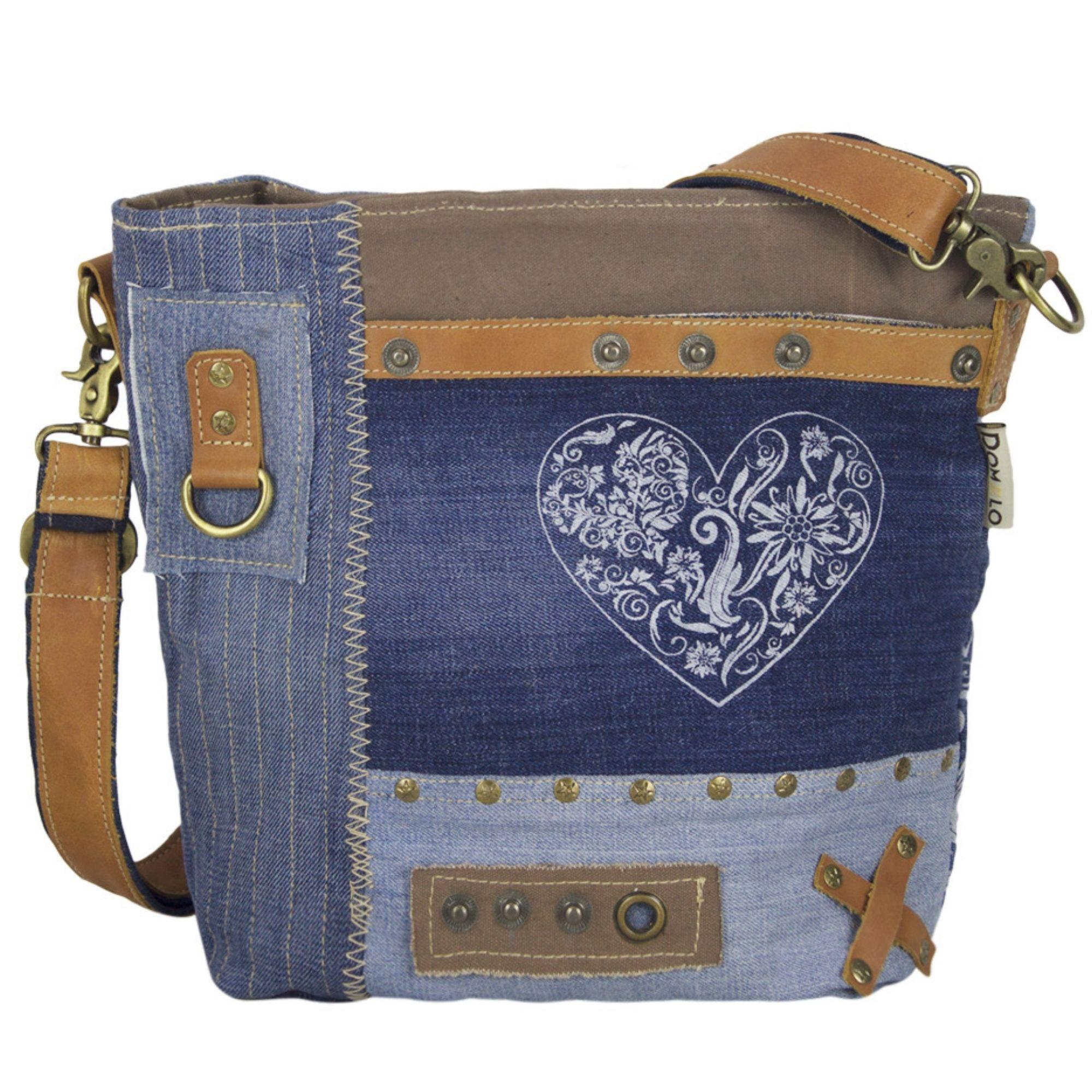 17f0e4dea33c8 Domelo Damen Trachtentasche Schultertasche Jeans Umhängetasche blau braun