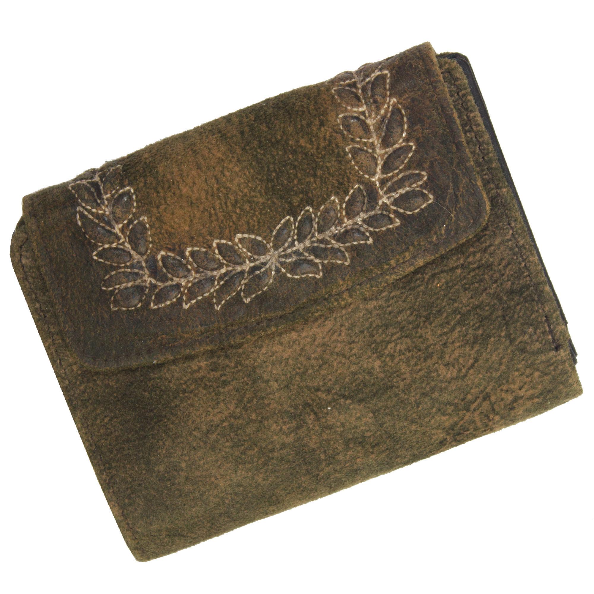 3f8bc82aec70e Domelo Damen Leder Geldbörse Geldbeutel Portemonnaie Brieftasche weichem  Leder bestickt braun